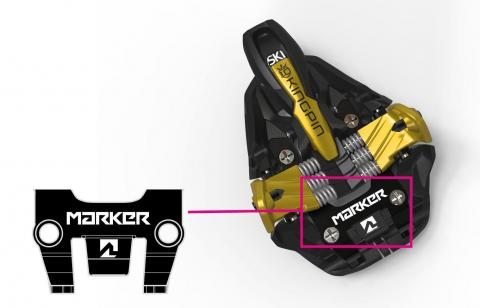 Recalled ski binding in gold, sold with or without Marker branding in the highlighted area.