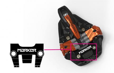 Recalled ski binding in copper, sold with or without Marker branding in the highlighted area.