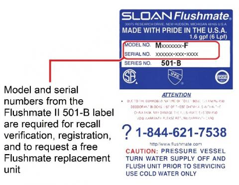 Label with model and serial numbers for recalled systems