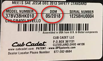 Model number and date of manufacture location.