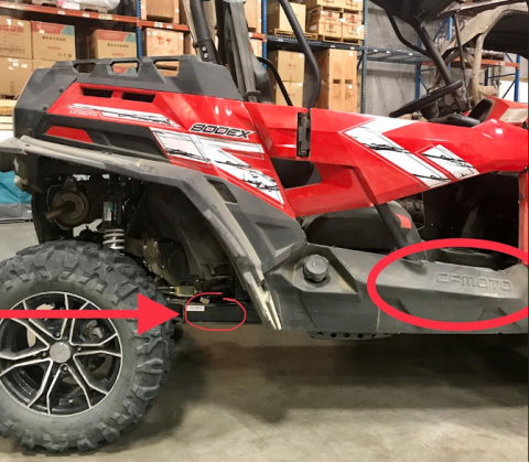 ZFORCE VIN number is stamped on the right side of the frame rail, which is in front of the rear tire.