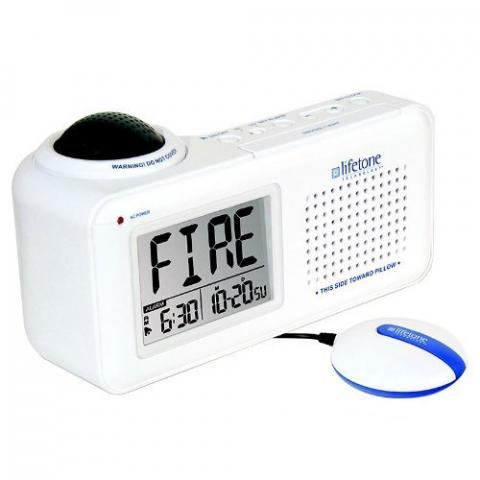 Lifetone Technology HLAC151 Bedside Fire Alarm & Clock