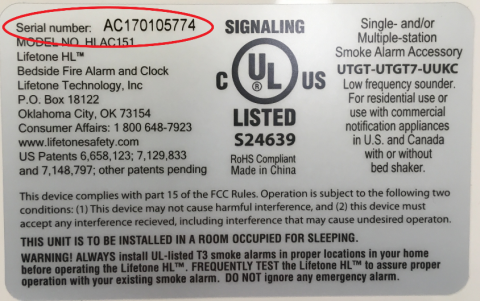 Location of serial number on the bottom of the unit