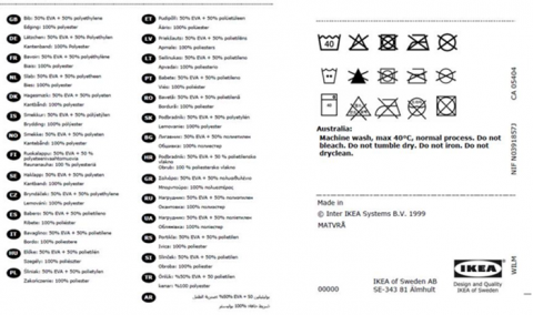 Front of recalled IKEA MATVRÅ Bib 2 Pack
