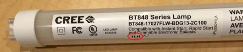 Date code location on the Cree LED T8 Replacement Lamp