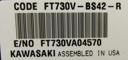 Engine Model and Serial Number Identification Label