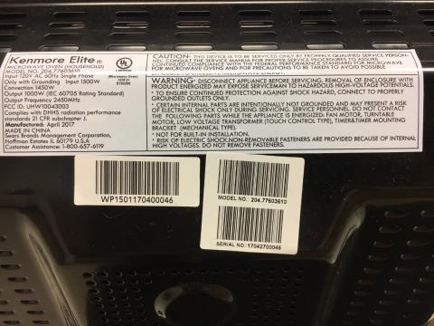 Model and serial numbers on the back of recalled microwave ovens