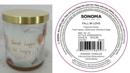 Recalled Kohl's Think Happy Be Happy Candle