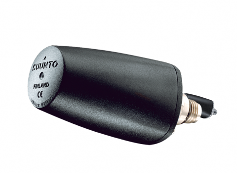 Old Model (pre-2013) - Suunto Wireless Tank Pressure Transmitter with black cone-shaped cone with SUUNTO, FINLAND on top, with black plastic base.