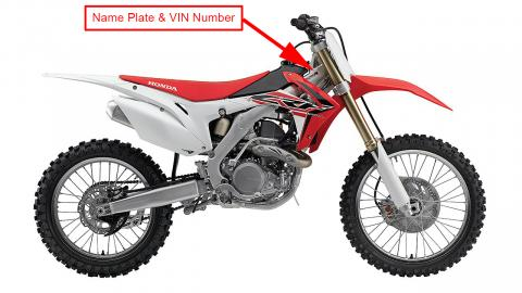 2015 and 2016 Honda CRF450R model year and vehicle identification number location