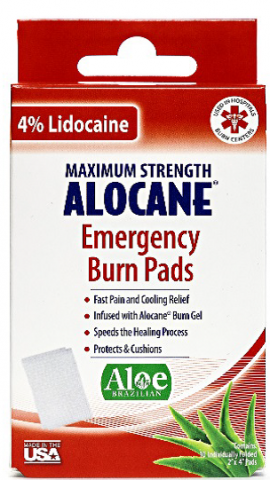 Recalled ALOCANE® Emergency Burn Pads with Lidocaine in the 10ct box
