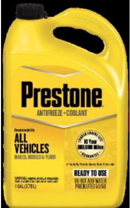 Recalled PRESTONE 50/50 Antifreeze