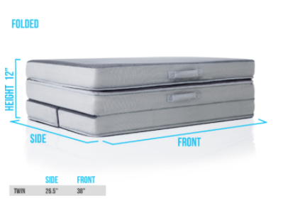 Recalled DownEast Mattress on the Go folding mattress – folded