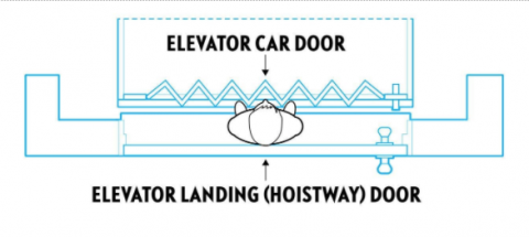 Typical scenario depicting a child trapped between an exterior landing (hoistway) door and an interior elevator car door.  The exterior door locks the child in the space between the doors when the elevator is called to another floor, putting the child at risk of being crushed or pinned by the elevator car.
