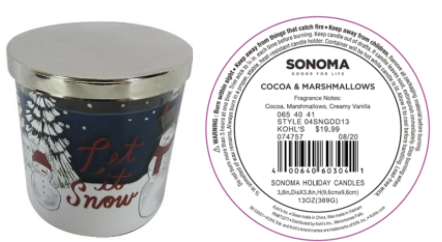 Recalled Kohl's Let it Snow Candle