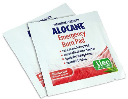 Single packets of ALOCANE® Emergency Burn Pad