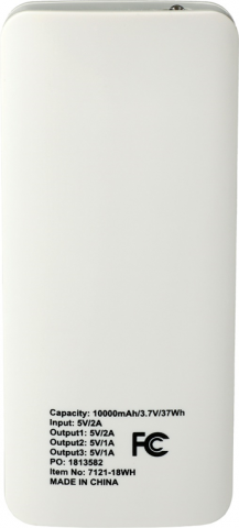 Back of recalled power bank with PO number