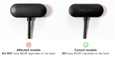 "Recalled Relay Charging Cables Do Not Have ""RELAY"" Imprinted on the Back"
