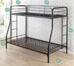 Recalled Zinus metal bunk bed (model NTBB)