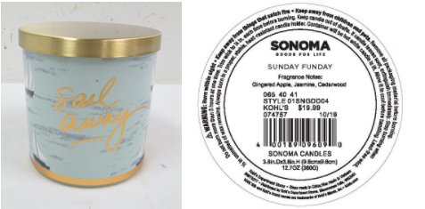 Recalled Kohl's Sail Away Candle