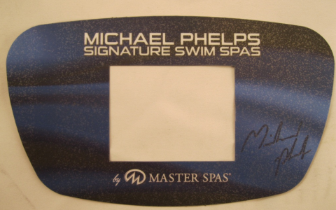 "A Master Spas control panel cover showing the name ""MP Signature Deep Swim Spas"""