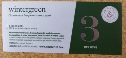 Recalled Aromatics International Wintergreen Essential Oil – label on the 30 mL and 100 mL bottles