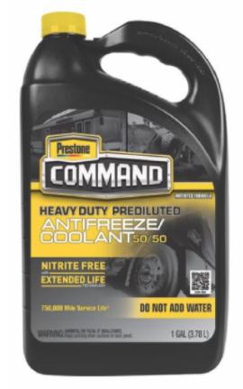 Recalled PRESTONE COMMAND® Nitrite Free 50/50 Antifreeze