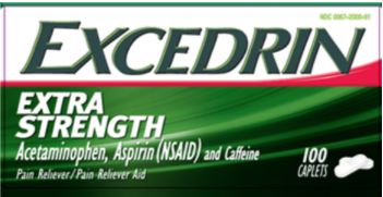 Recalled Excedrin Extra Strength Caplets (50, 80, 100, 125, 200, 250 and 300-count)