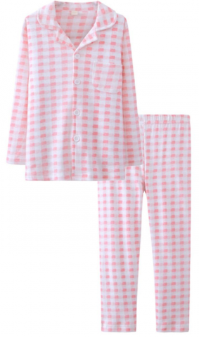 ASHERGAL children's two-piece pajama set in pink gingham