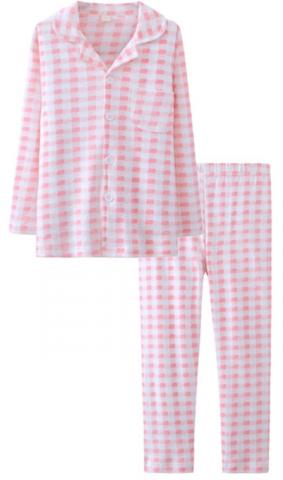 ASHERGAL children's two-piece pajama set in pink gingham