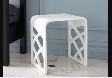 Recalled white matte resin bath stool
