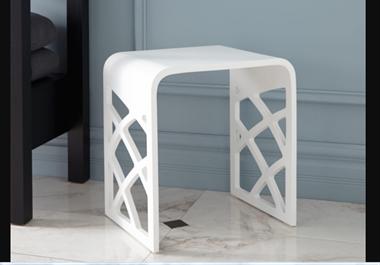 Recalled white matte resin bath stool