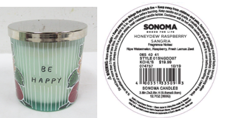 Recalled Kohl's Be Happy Candle