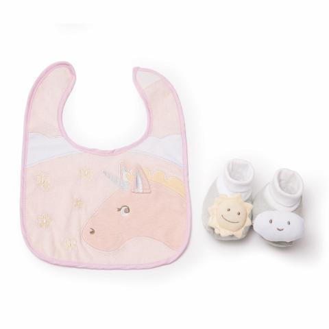 Unicorn bib and bootie set