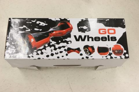 Recalled Go Wheels hoverboard packaging