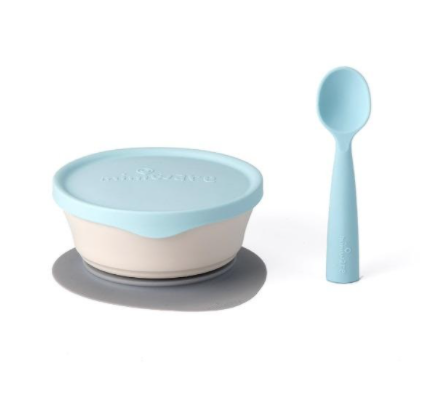"Recalled Miniware ""First Bites"" set with teething spoon in aqua"