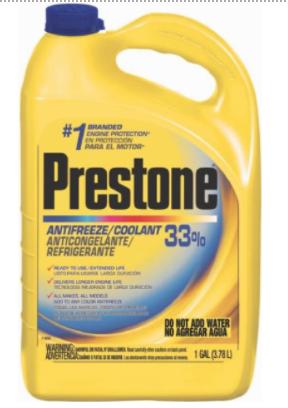 Recalled PRESTONE AMM 33% Export Antifreeze