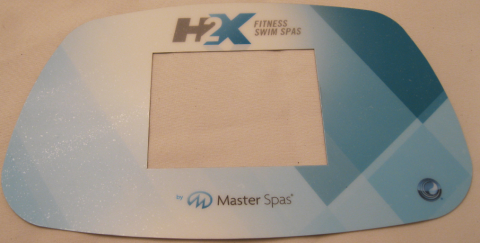 "A Master Spas control panel cover showing the brand name ""H2X"""
