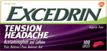 Recalled Excedrin Tension Headache Caplets (50, 80, 100, 125, 200, 250 and 300-count)