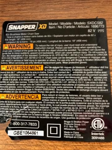 Snapper XD 82-volt chainsaw label