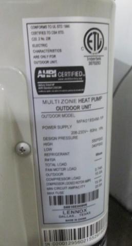 Recalled Lennox Ductless Heat Pumps- Nameplate