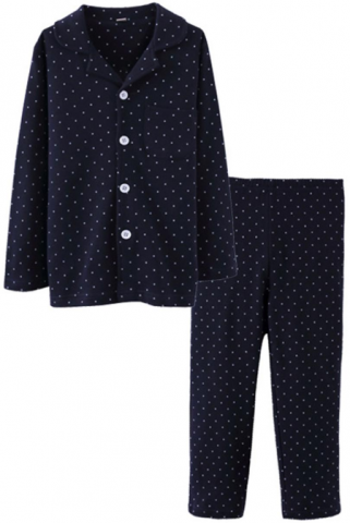 ASHERGAL children's two-piece pajama set in black with white polka dots