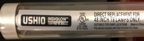 Recalled Indiglow LED T8 Lamp Showing Company Logo and Brand