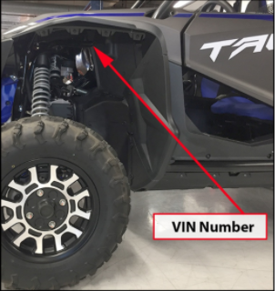 Talon 1000 Location of VIN Number