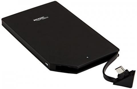 AmazonBasics portable power bank, with product ID number B00LRK8HJ8 printed on the back of the unit.