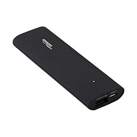 AmazonBasics portable power bank, with product ID number B00LRK8I7O printed on the back of the unit.