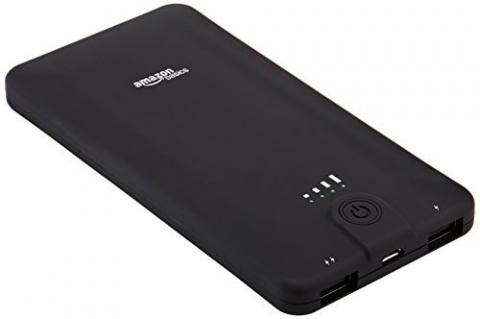 AmazonBasics portable power bank, with product ID number B00LRK8JDC printed on the back of the unit.