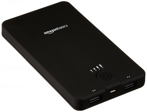 AmazonBasics portable power bank, with product ID number B00ZQ4JQAA printed on the back of the unit.