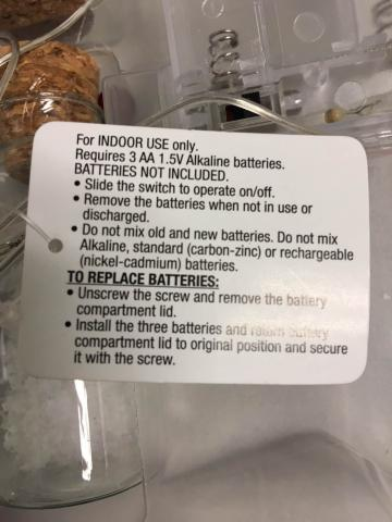 The light strings have a tag attached with instructions as to how to replace the batteries.