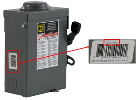 Label on the side of the safety switch with the catalog number